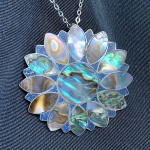 Sterling & Abalone Flower Pendant Brooch Necklace